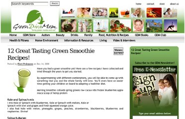 http://www.greendivamom.com/2008/12/14/12-great-tasting-green-smoothie-recipes/