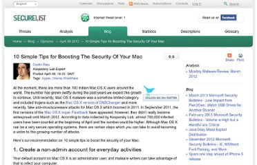 http://www.securelist.com/en/blog/208193448/10_Simple_Tips_for_Boosting_The_Security_Of_Your_Mac
