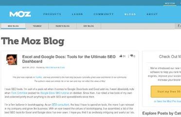 http://www.seomoz.org/blog/excel-and-google-docs-tools-for-the-ultimate-seo-dashboard