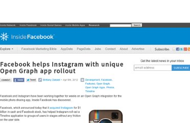 http://www.insidefacebook.com/2012/04/09/facebook-helps-instagram-with-unique-open-graph-app-rollout/