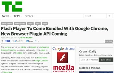 http://techcrunch.com/2010/03/30/flash-player-to-come-bundled-with-google-chrome-new-browser-plugin-api-coming/