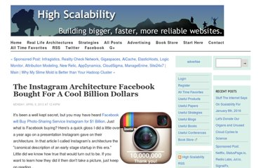 http://highscalability.com/blog/2012/4/9/the-instagram-architecture-facebook-bought-for-a-cool-billio.html