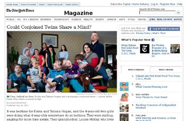 http://www.nytimes.com/2011/05/29/magazine/could-conjoined-twins-share-a-mind.html?_r=3&pagewanted=1&seid=auto&smid=tw-nytimesscience