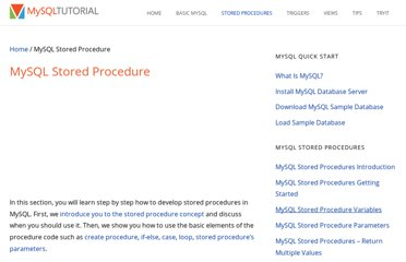http://www.mysqltutorial.org/mysql-stored-procedure-tutorial.aspx