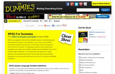 http://www.dummies.com/how-to/content/spss-for-dummies-cheat-sheet.html