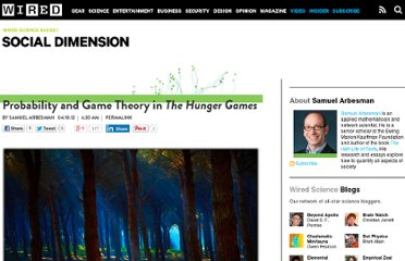 http://www.wired.com/wiredscience/2012/04/probability-and-game-theory-in-the-hunger-games/