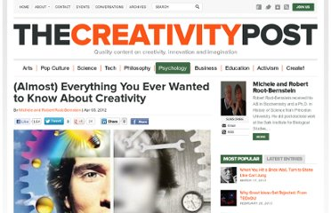 http://www.creativitypost.com/psychology/almost_everything_you_ever_wanted_to_know_about_creativity