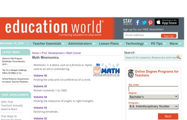 http://www.educationworld.com/a_curr/archives/mnemonics.shtml