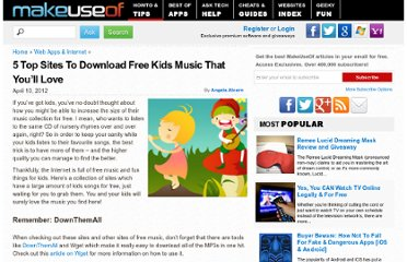 http://www.makeuseof.com/tag/5-top-sites-free-kids-music-love/