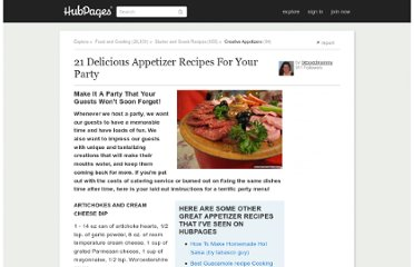 http://blessedmommy.hubpages.com/hub/21-Delicious-Appetizer-Recipes-For-Your-Party