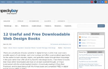http://speckyboy.com/2010/03/19/12-must-have-free-downloadable-web-design-books/