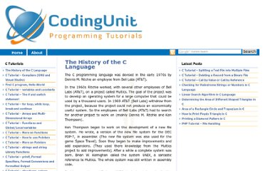 http://www.codingunit.com/the-history-of-the-c-language