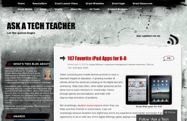 http://askatechteacher.wordpress.com/2012/04/11/107-favorite-ipad-apps-for-k-8/
