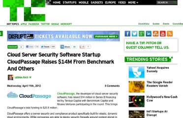 http://techcrunch.com/2012/04/11/cloud-server-security-software-startup-cloudpassage-raises-14m-from-benchmark-and-others/