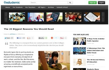 http://edudemic.com/2012/04/the-20-biggest-reasons-you-should-read/