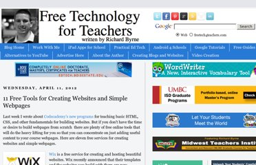 http://www.freetech4teachers.com/2012/04/11-free-tools-for-creating-websites-and.html