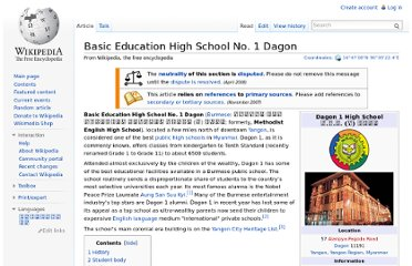http://en.wikipedia.org/wiki/Basic_Education_High_School_No._1_Dagon