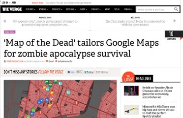 http://www.theverge.com/2012/4/11/2941103/google-map-of-the-dead-zombie-apocalypse-survival