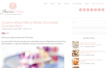 http://www.loveveggiesandyoga.com/2012/04/creamy-mixed-berry-white-chocolate-crumble-bars.html