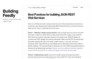 http://blog.feedly.com/2009/05/06/best-practices-for-building-json-rest-web-services/