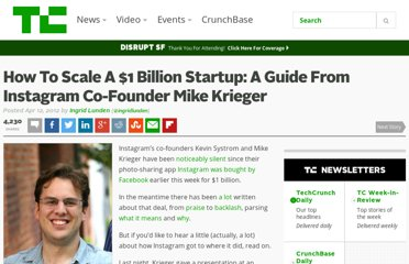 http://techcrunch.com/2012/04/12/how-to-scale-a-1-billion-startup-a-guide-from-instagram-co-founder-mike-krieger/
