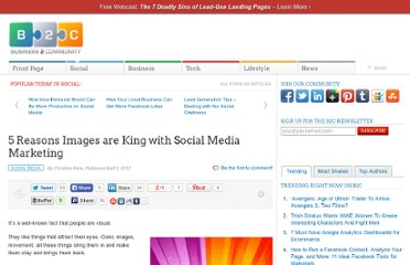 http://www.business2community.com/social-media/5-reasons-images-are-king-with-social-media-marketing-0158805