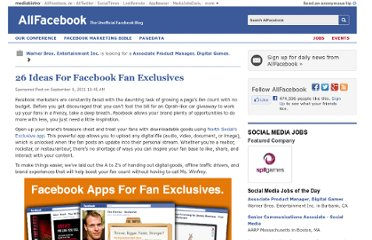 http://allfacebook.com/26-ideas-for-facebook-fan-exclusives_b57995
