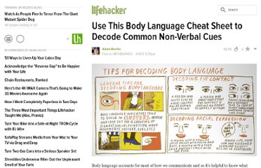 http://lifehacker.com/5901468/use-this-body-language-cheat-sheet-to-decode-common-non+verbal-cues