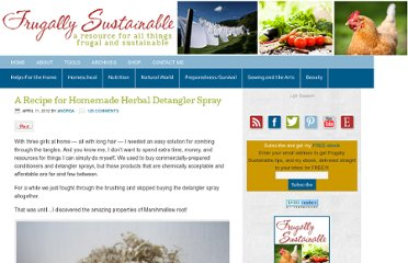 http://frugallysustainable.com/2012/04/a-recipe-for-homemade-herbal-detangler-spray/