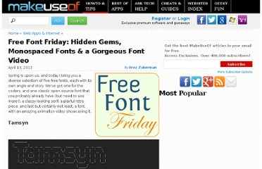 http://www.makeuseof.com/tag/free-font-friday-edition/