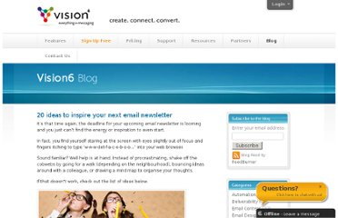 http://www.vision6.com.au/blog/20-ideas-to-inspire-your-next-email-newsletter/