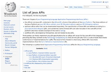 http://en.wikipedia.org/wiki/List_of_Java_APIs