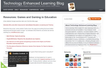 http://www.dontwasteyourtime.co.uk/elearning/resources-games-and-gaming-in-education/