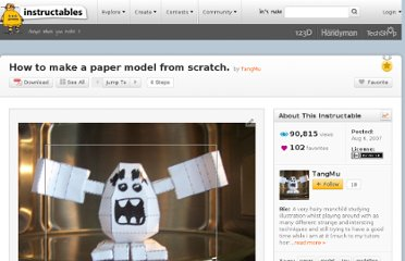 http://www.instructables.com/id/How-to-make-a-paper-model-from-scratch./