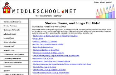http://www.middleschool.net/articles/stories-poems-and-songs-for-kids.html