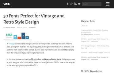http://webdesignledger.com/freebies/30-fonts-perfect-for-vintage-and-retro-style-design