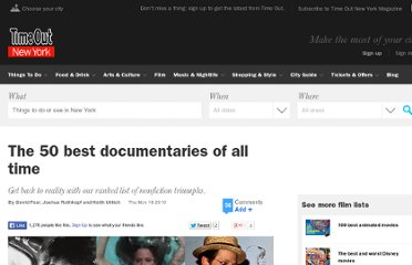 http://www.timeout.com/newyork/film/the-50-best-documentaries-of-all-time-documentary?page=0,1