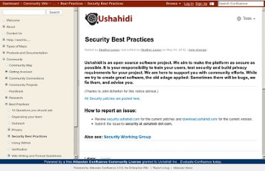 http://wiki.ushahidi.com/display/WIKI/Security+Best+Practices