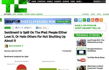 http://techcrunch.com/2010/04/03/sentiment-is-split-on-the-ipad-people-either-love-it-or-hate-others-for-not-shutting-up-about-it/