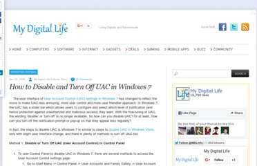 http://www.mydigitallife.info/how-to-disable-and-turn-off-uac-in-windows-7/