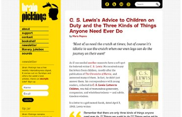 http://www.brainpickings.org/index.php/2012/04/10/c-s-lewis-letters-to-children/