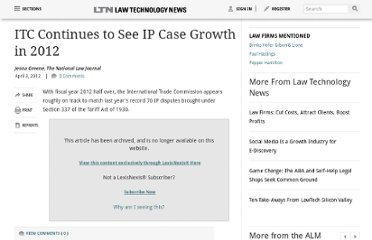 http://www.law.com/jsp/lawtechnologynews/PubArticleLTN.jsp?id=1202547718781&ITC_Continues_to_See_IP_Case_Growth_in_2012