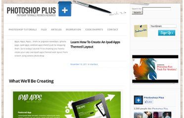 http://www.photoshop-plus.co.uk/2011/11/10/learn-how-to-create-an-ipad-apps-themed-layout/