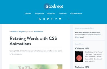 http://tympanus.net/codrops/2012/04/17/rotating-words-with-css-animations/
