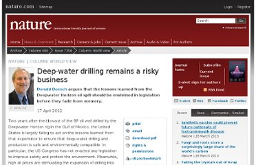 http://www.nature.com/news/deep-water-drilling-remains-a-risky-business-1.10464