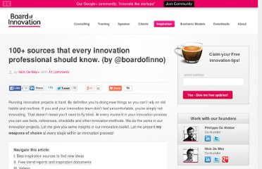 http://www.boardofinnovation.com/2012/04/16/the-ultimate-guide-for-the-ambitious-innovation-manager-100-sources/