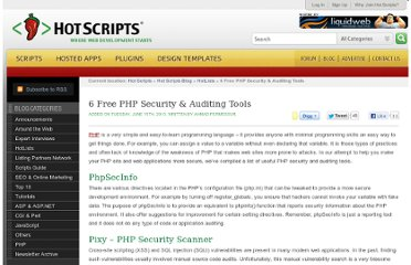 http://www.hotscripts.com/blog/6-free-php-security-auditing-tools/