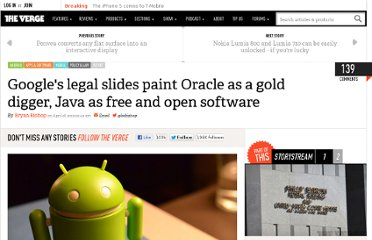 http://www.theverge.com/2012/4/18/2956216/google-legal-slides-paint-oracle-gold-digger-java-free-open-software