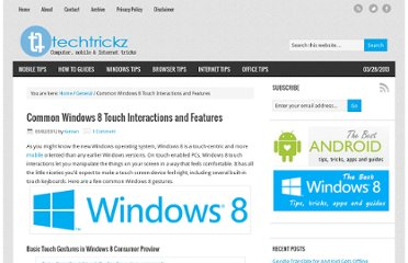 http://techtrickz.com/general/common-windows-8-touch-interactions-and-features/