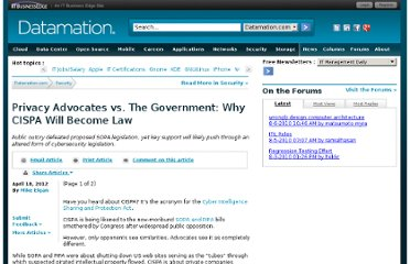 http://www.datamation.com/security/privacy-advocates-vs.-the-government-why-cispa-will-become-law-1.html